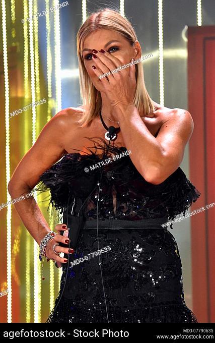 The dancer, showgirl, Italian TV presenter Matilde Brandi during first episode tv broadcast Grande Fratello Vip 5 in the Cinecitta' Studios