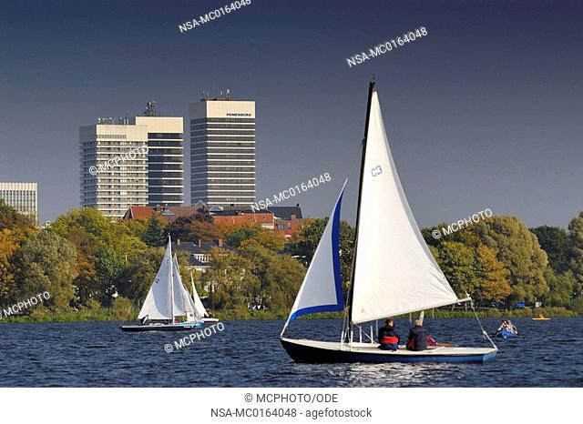 Sailing on the Alster in Hamburg, Germany, Europe