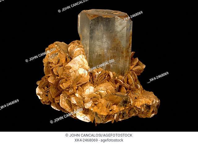 Beryl , Aquamarire, Pakistan, on muscovite matrix, berylium bearing ore mineral and semi-precious stone