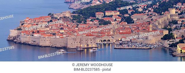 Boats at waterfront, Dubrovnik, Dalmatia, Croatia