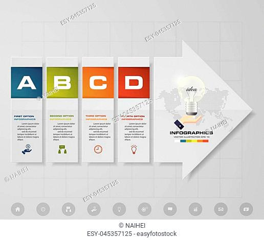 Abstract 4 steps infographics elements with arrow shape elements.Vector illustration. Align in vertical dimension. EPS10