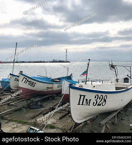 Fishing Boat At The Harbor. Pomorie, Bulgaria