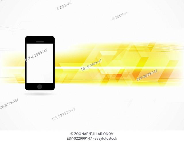 Yellow technology background with smartphone