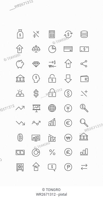 Various line icons related to economy