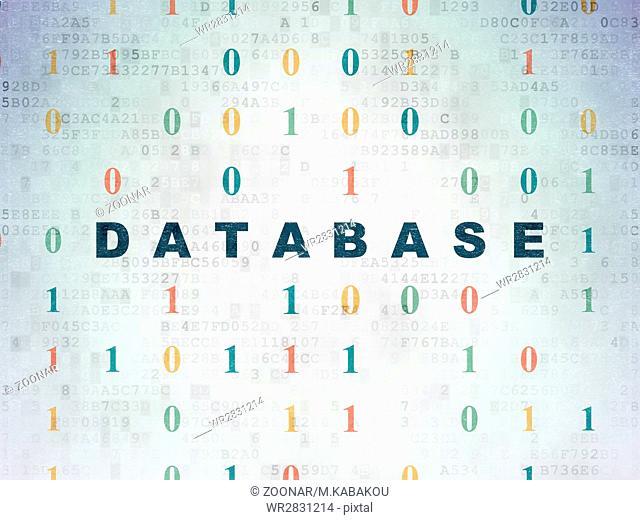 Programming concept: Database on Digital Data Paper background