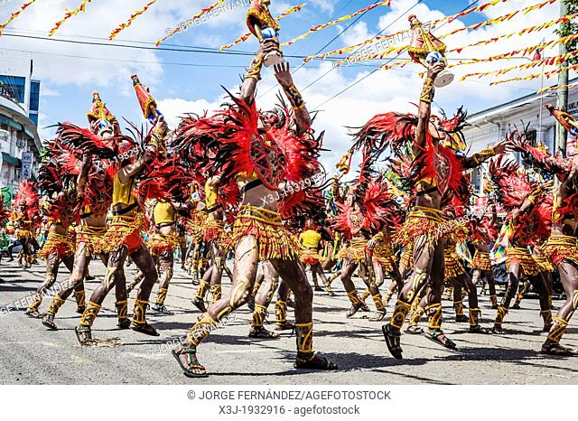 Participants of the dance contest during the celebration of Dinagyang in homage to 'The Santo Niño', the patron saint of many Philippino cities