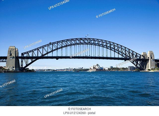 Sydney Harbour Bridge with view of Sydney Opera House in Australia