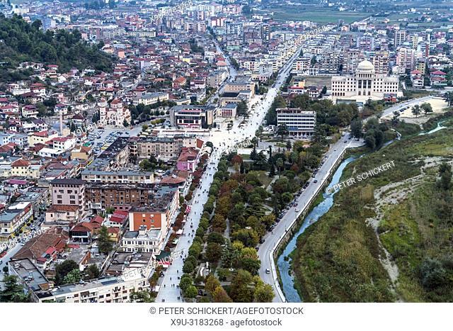 Berat seen from above, , Albania, Europe