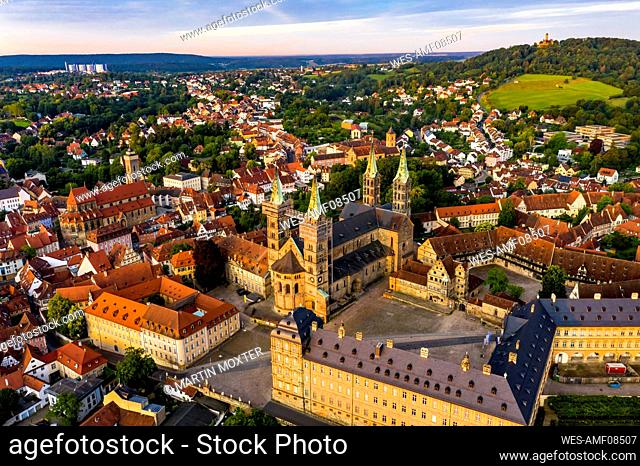 Bamberg Cathedral surrounded with residential building at Bamberg, Bavaria, Germany