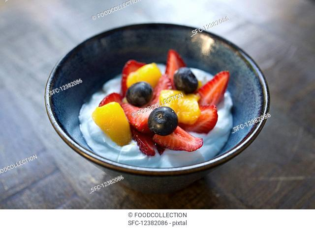 Fresh fruit in yoghurt