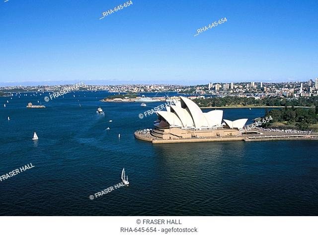 Aerial view of Sydney Opera House and harbour, Sydney, New South Wales, Australia, Pacific