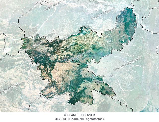 Satellite view of the State of Jharkhand, India. This image was compiled from data acquired by LANDSAT 5 & 7 satellites