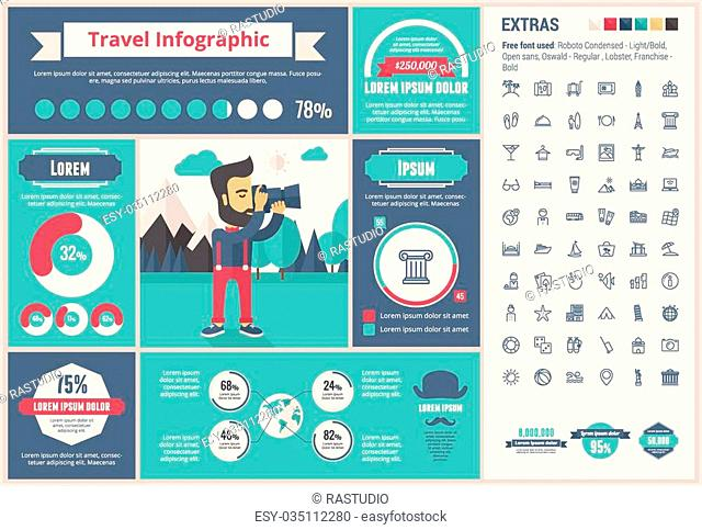 Travel infographic template and elements. The template includes illustrations of hipster men and huge awesome set of thin line icons