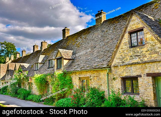 Traditional rural houses in Bibury, a village in Cotswolds area, England, UK