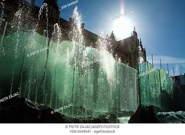 Fountain at Market Square in Wroclaw, Poland