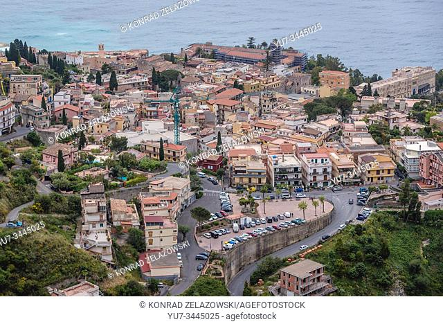 Old Town of Taormina city seen from Castelmola town in the Province of Messina in the Italian region Sicily