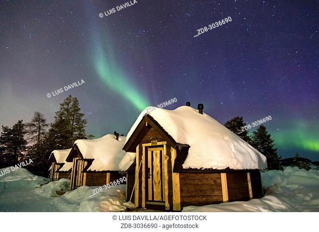 Northern lights in the Wilderness hotel. Finland