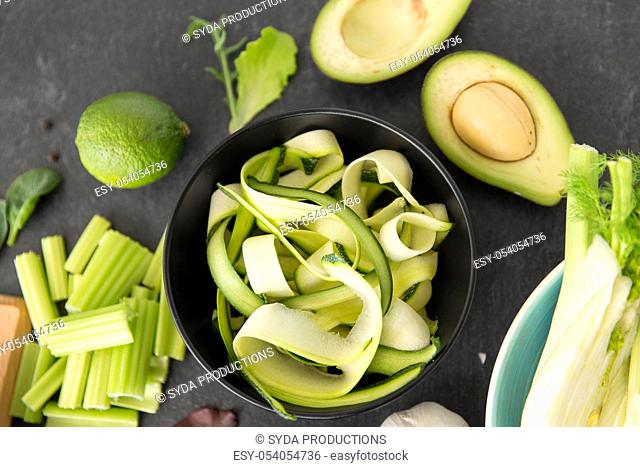 close up of different green vegetables