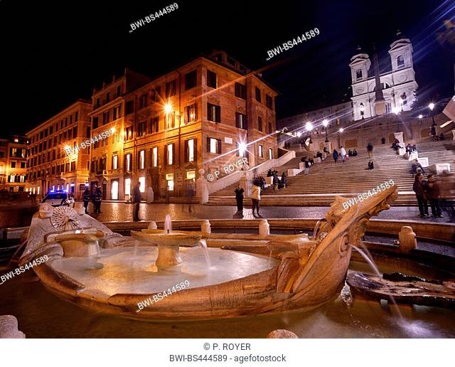Water spring in palce of Spain with the church Trinite des Monts in Roma town. Italia, Italy, Rome