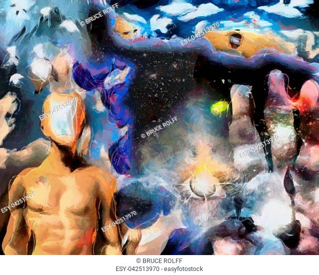 Complex surreal painting. Man with open door to another world. Eye of God. Human's palm with clock hands