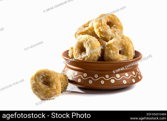 Indian Traditional Sweet Food Balushahi on a white background