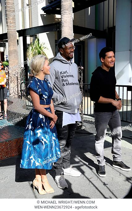 Von Miller and Witney Carson seen at Universal studios where they were interviewed by Mario Lopez for television show Extra Featuring: Witney Carson, Von Miller