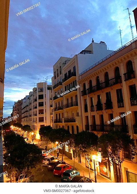 Street, night view. Madrid, Spain