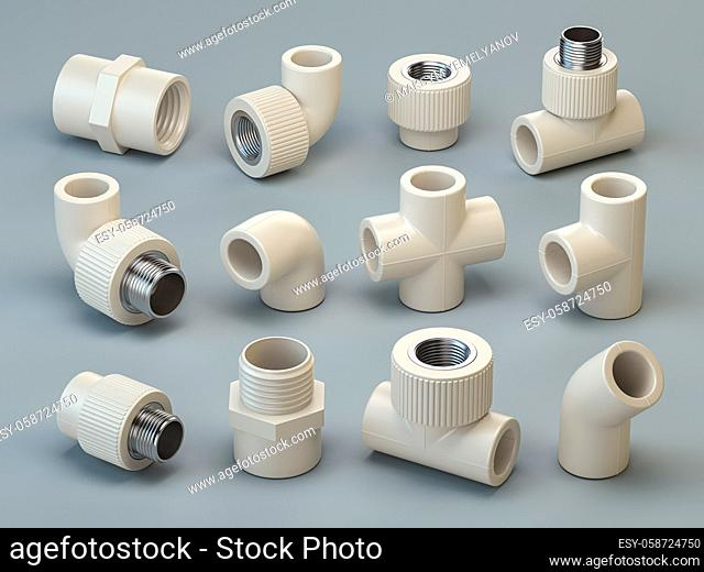 Set of PVC pipe fittings on grey background. 2d illustration