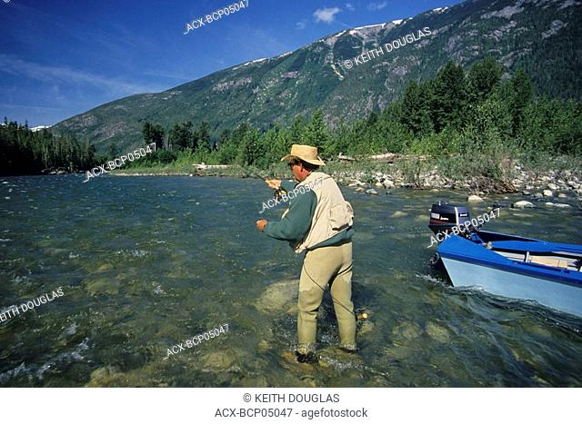 Flyfishing for steelhead, Dean river, British Columbia, Canada