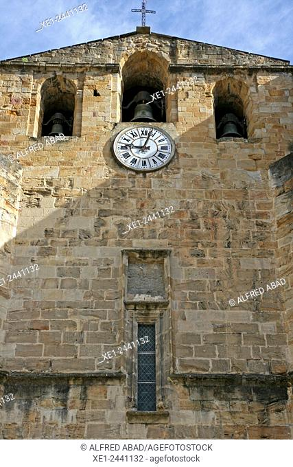 Clock and bell tower, abbey of Saint-Volusien, Foix, Ariege, France