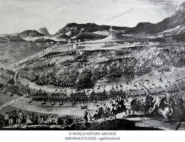 Engraving depicting the Battle of Almansa. Dated 18th Century