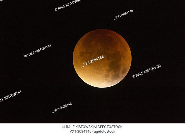 Lunar Eclipse, Red supermoon, Blood moon, 28th September 2015, sparkling stars around, detailed shot