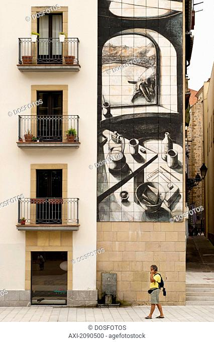 Wall Painting And Balconies In Zuloaga Square, San Sebastian, Basque Country, Spain