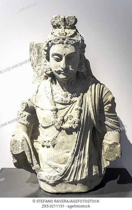 The Bodhidattva Maitreya. 100-400. Ancoent Gandhara. North-West Pakistan. Schist