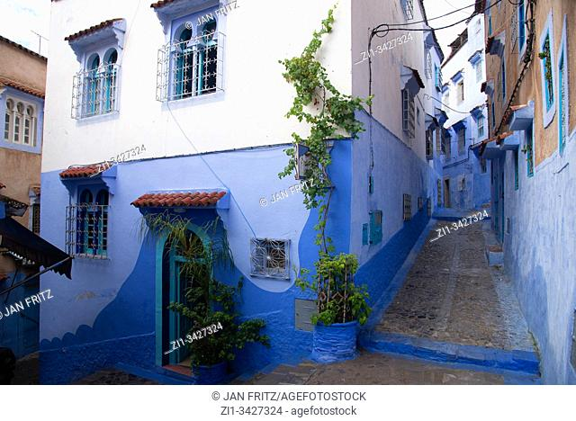 small streets in blue village Chefchaouen in Maroc