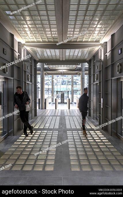 Lift lobby. Bracken House, London, United Kingdom. Architect: John Robertson Architects, 2019