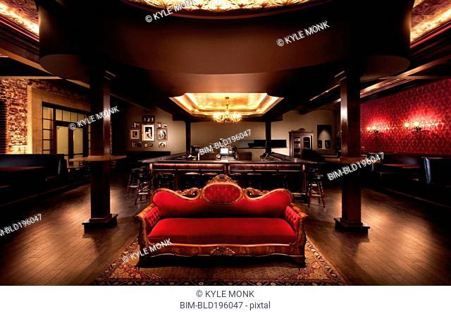 Luxurious sofa in bar