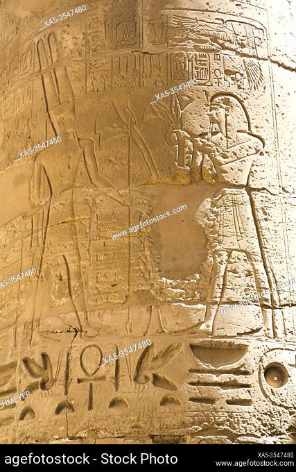 Reliefs, Column, Great Hypostyle Hall, Karnak Temple Complex, UNESCO World Heritage Site, Luxor, Egypt
