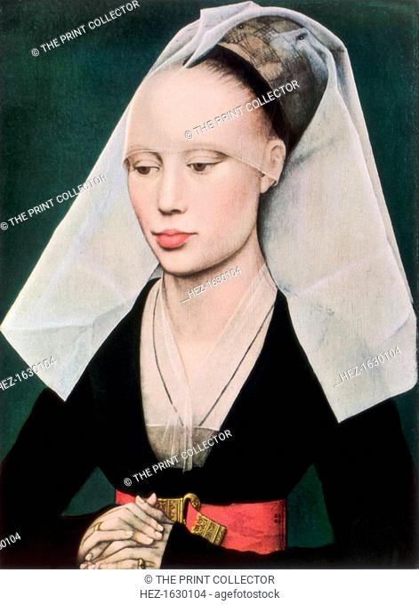 'Portrait of a Lady', c1460 (1927). Found in the collection of the National Gallery of Art, Washington, DC. A print from Flemish and Belgian art 1300-1900
