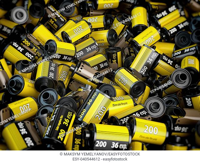 Old camera photo film cassettes or rolls background. 3d illustration