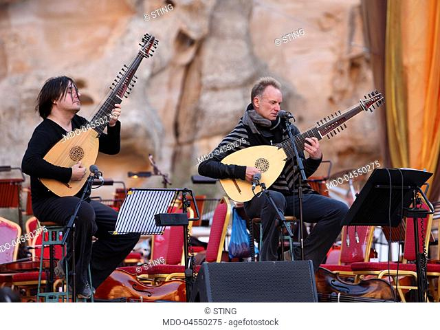 Singer-songwriter Sting (Gordon Matthew Thomas Sumner) during the rehearsals of the Memorial Concert to Luciano Pavarotti. Petra, Jordan