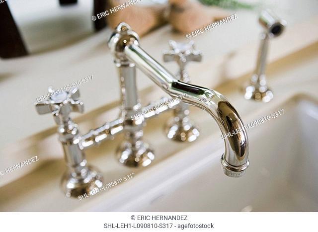 Detail chrome kitchen faucet