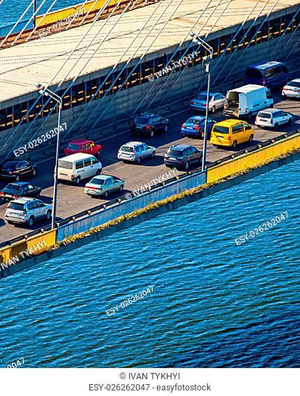 Traffic jam on a bridge in the morning rush hour. Kiev, Ukraine