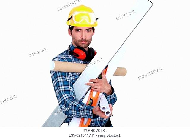 A handyman with his arms full