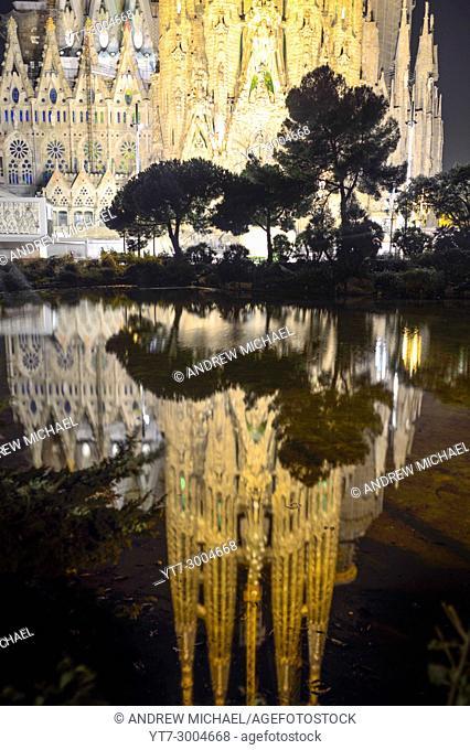 Sagrada Familia Cathedral design by Antoni Gaudi, Barcelona, Catalonia, Spain