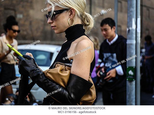 MILAN, Italy- September 20 2018: Caroline Daur on the street during the Milan Fashion Week