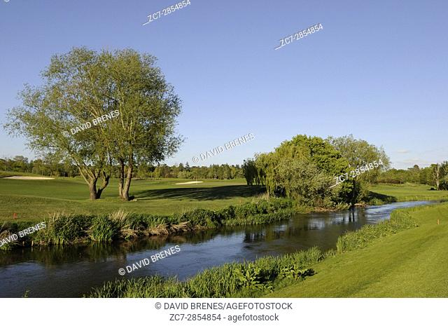 View over the river from the 6th Hole on the Mill Course, The Wisley, Wisley, Surrey, England