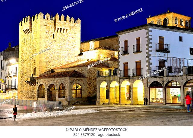 Bujaco tower and Main square of Caceres, Spain