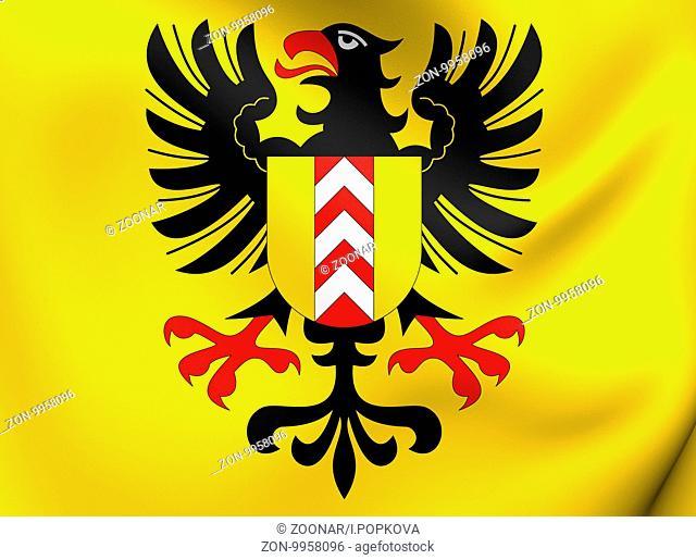 Flag of Neuchatel, Switzerland. Close Up