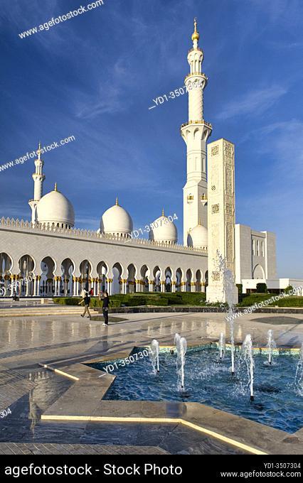 Abu Dhabi. United Arab Emirates. Sheikh Zayed Grand Mosque. January 2020